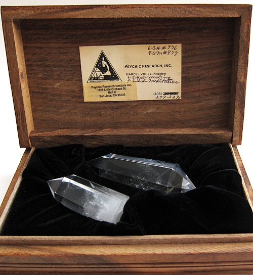 Wooden Box with Meditation and Healing Crystals Cut by Marcel Vogel, from the Collection of Curtis Lang and Jane Sherry