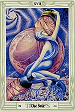 Tarot Trump XVII, The Star, painting by Lady Frieda Harris, Aleister Crowley Tarot Deck