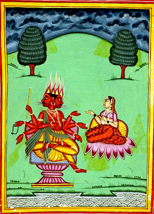 Agni, Hindu God of Fire with his Wife, Swaha