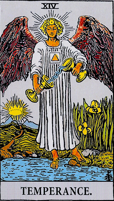 Tarot Trump #14, Temperance, from the Waite Deck, photo by Jane Sherry