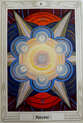 The Six of Disks, Success, from the Crowley Tarot Deck, painting by Lady Frieda Harris, photo by Jane Sherry