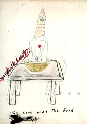 The Love was the Food Mixed Media Drawing by Jane Sherry
