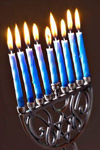 Menorah with Hanukkah Candles