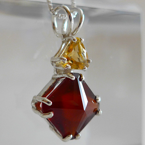 Garnet Pendant with Golden Topaz