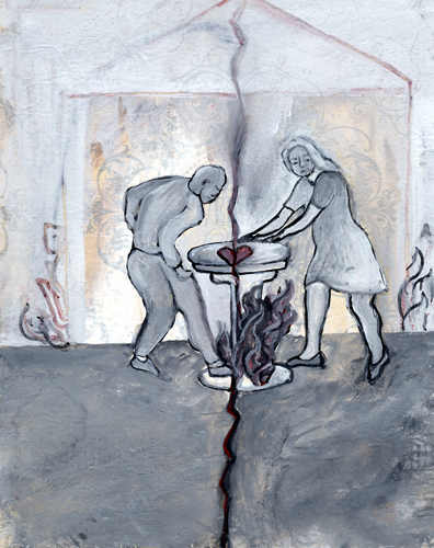 The Lovers by Jane Sherry mixed media drawing