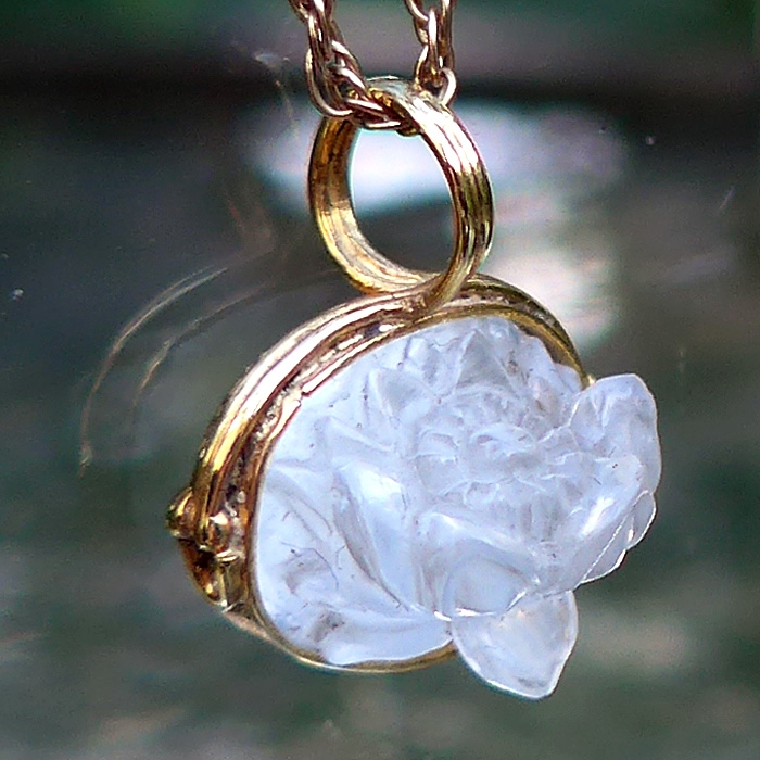 Tiny 3-D Moonstone Lotus in 18k Gold by Pedro