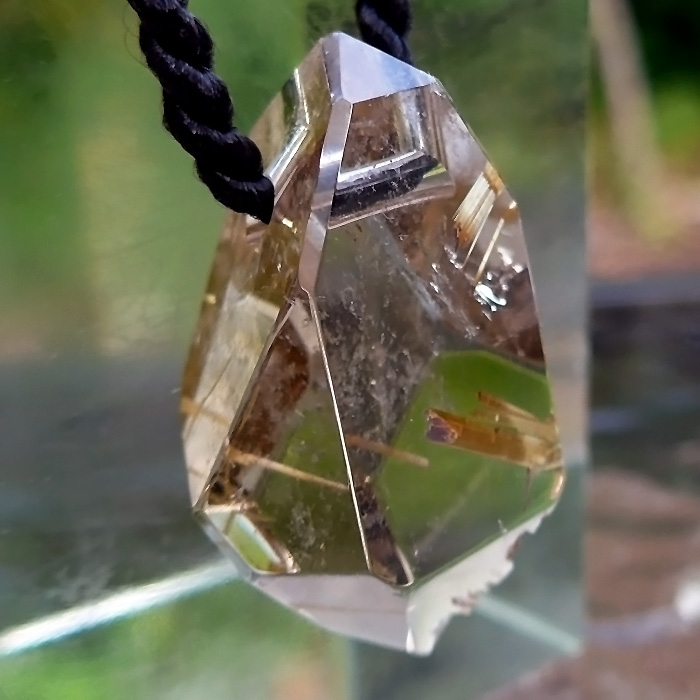 Large Golden Rutile DT Pendant by Lawrence Stoller