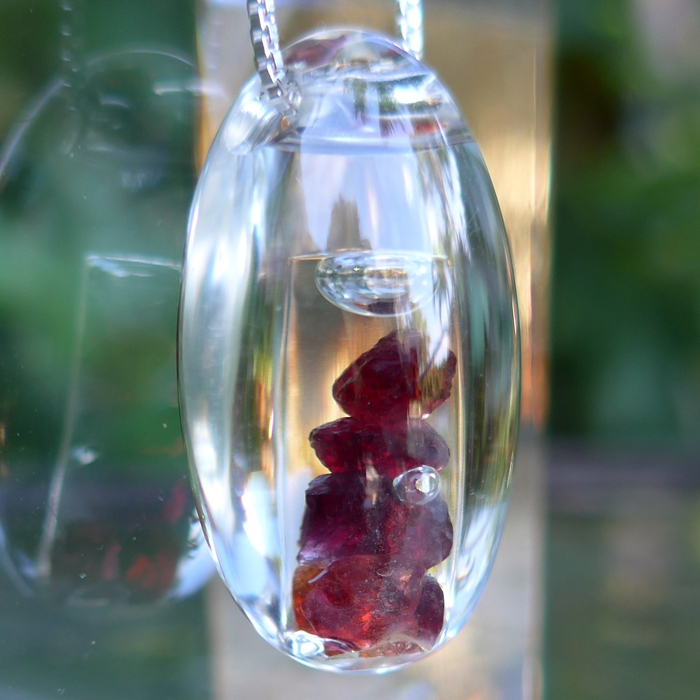Anthill Pyrope Garnet Gemstone Filled Crystal Waterdrop Pendant