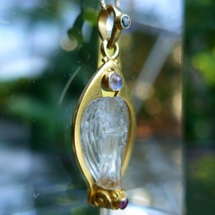 Chanpagne Citrine Archangel Gabriel Pendant with Aquamarine, Moonstone and Red Tourmaline by Pedro