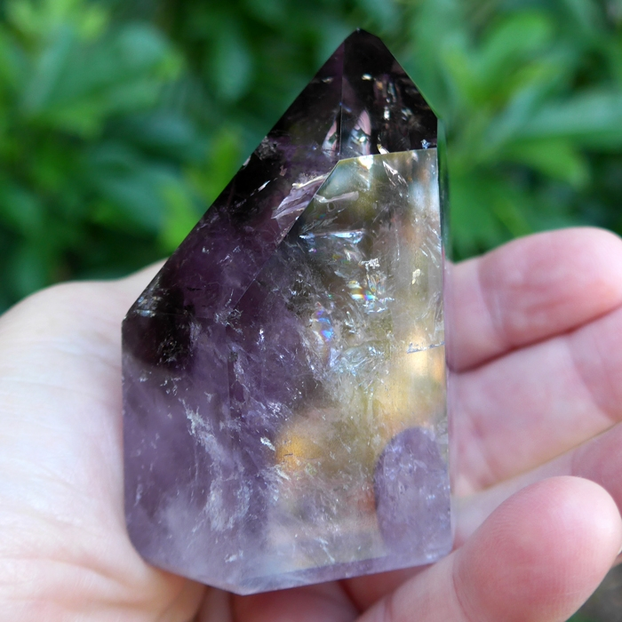 Polished Smoky Amethyst Phantom Generator with Asymmetrical Channeling Face