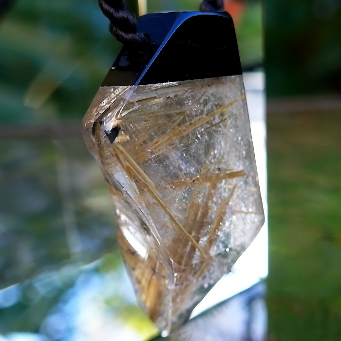 Rutile and Black Tourmaline Freeform Pendant by Lawrence Stoller