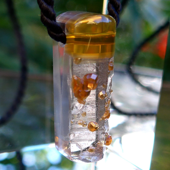 Fire Opal, Garnet and Clear Quartz Pendant by Lawrence Stoller