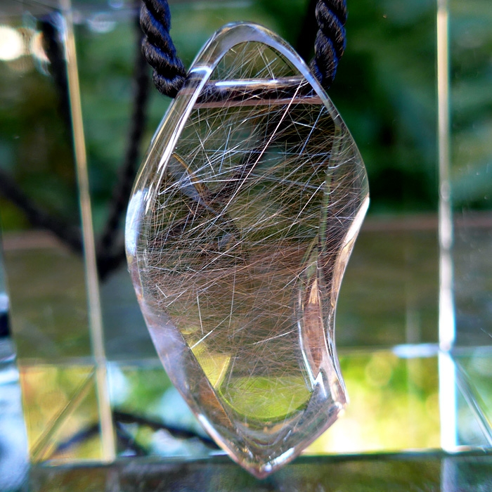 Large Angel Hair Rutile Pendant by Lawrence Stoller