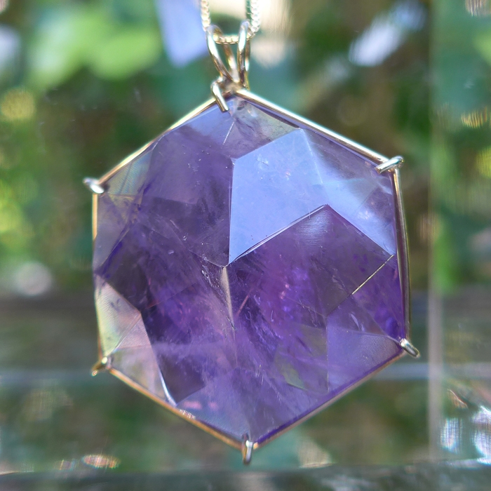 Giant 14kt Gold Amethyst Flower of Life Pendant