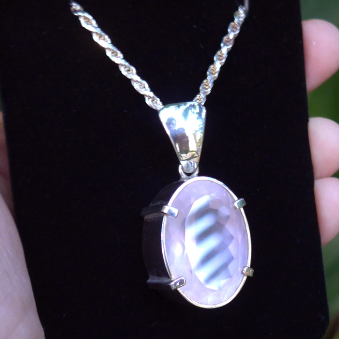 Deep Oval Rose Quartz Balinese Pendant