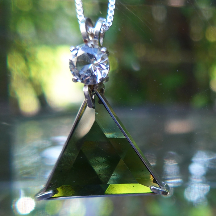 Moldavite Star of David with Danburite Crown