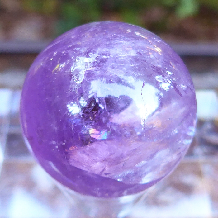 Rich Violet Amethyst Sphere with Rainbows