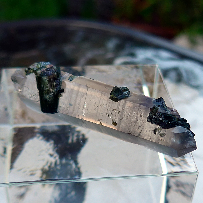 Smoky Quartz DT Point with Green Tourmaline and Bridge Crystal