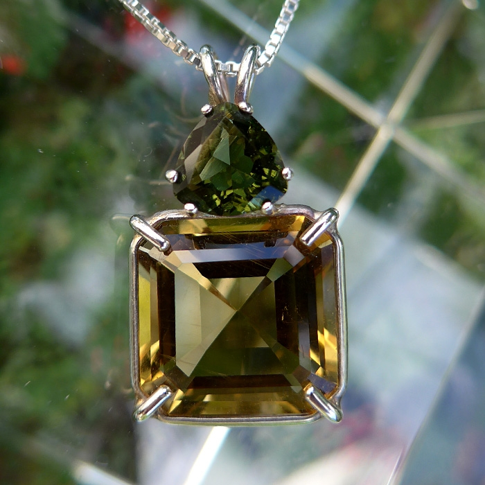 Citrine Earth Heart Pendant with Trillion Moldavite Crown