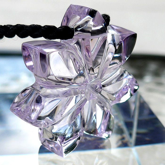 7-Petal Rose de France Amethyst Flower of Isis Pendant