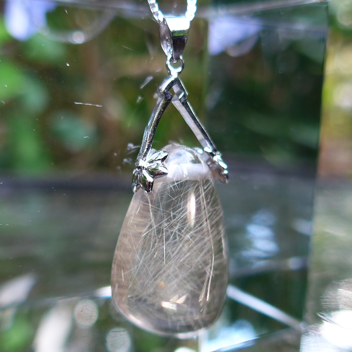 Golden Angel Hair Rutilated Quartz Cabachon in Silver