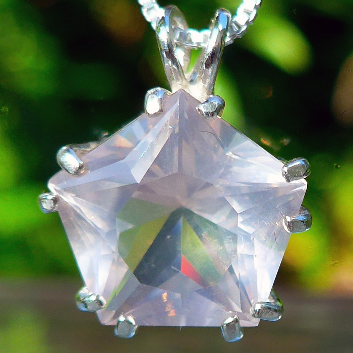 Rosy Quartz Star of Venus Pendant
