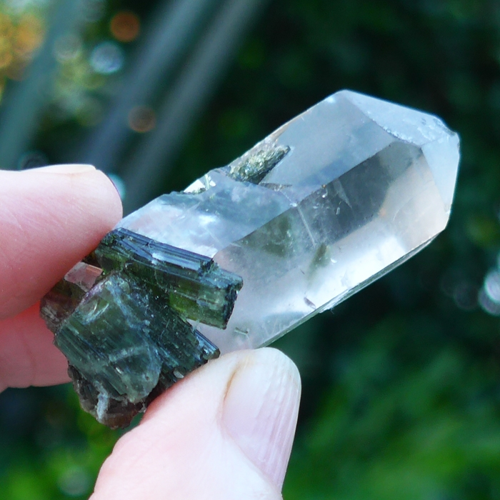 Clear Quartz Point with Green Tourmaline Cluster