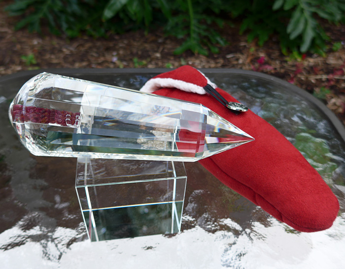 Water Clear Garnet Filled Healing Wand by Lawrence Stoller
