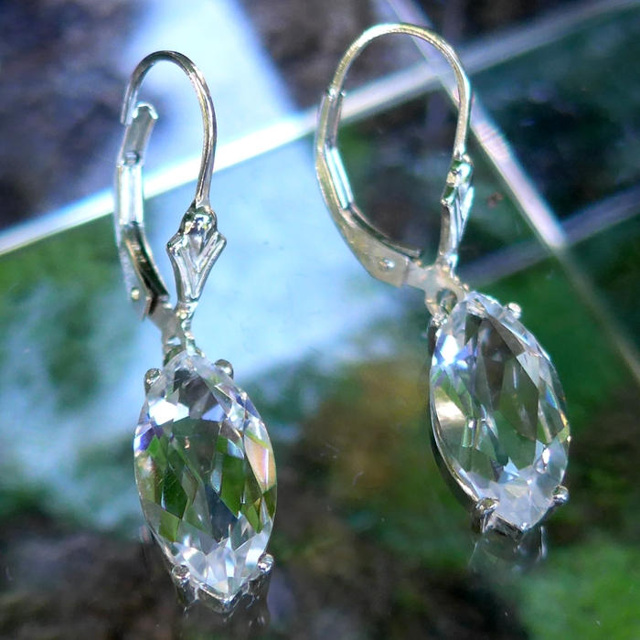 Marquise Cut John of God Quartz Hanging Earrings