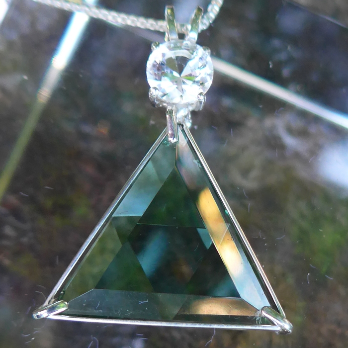 Siberian Green Quartz Star of David Pendant with John of God Crown