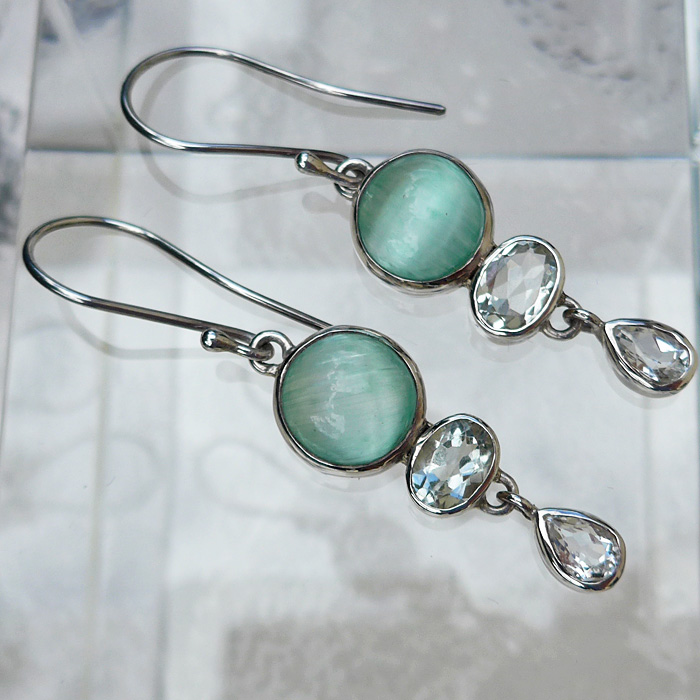 Chatoyant Actinolite and White Topaz Hanging Earrings