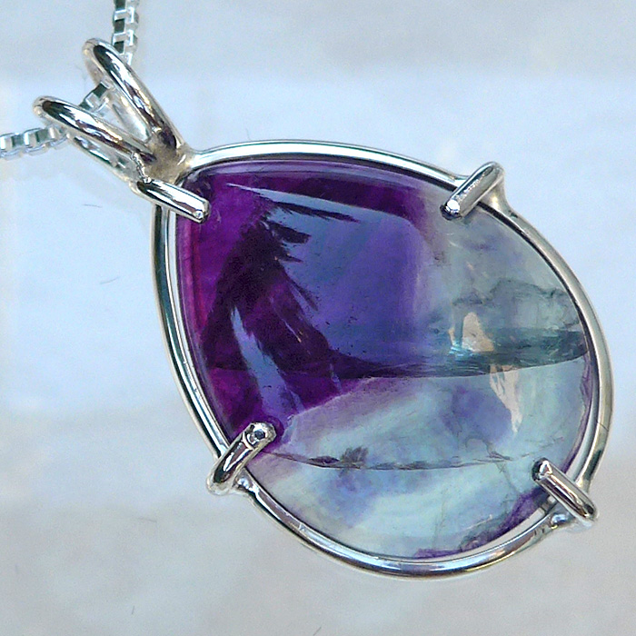 Deep Violet and Green Teardrop Fluorite Pendant