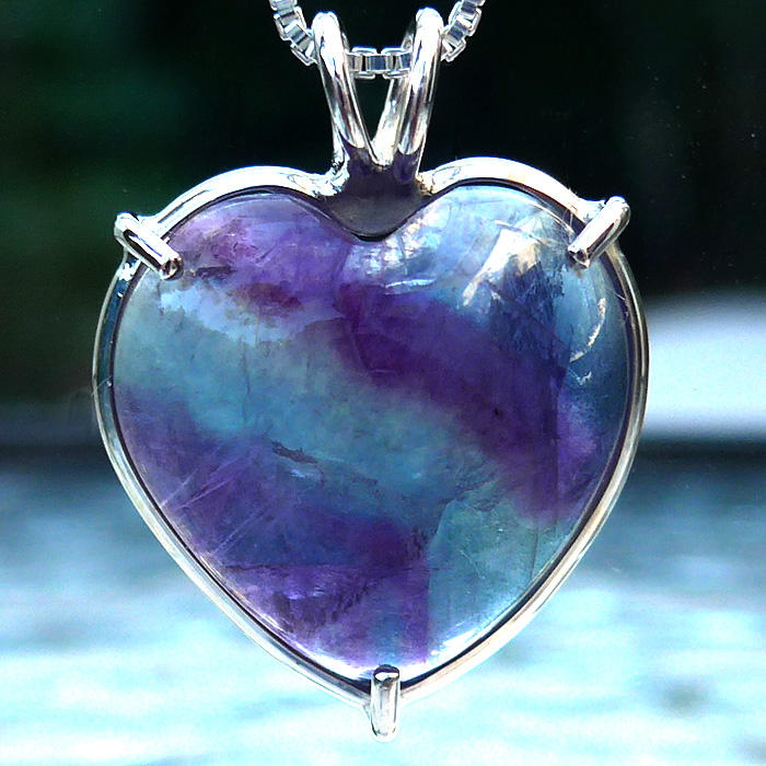 Purple and Green Fluorite Heart Pendant