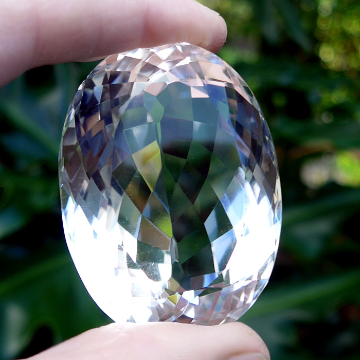 Water Clear Faceted Oval Quartz Gemstone