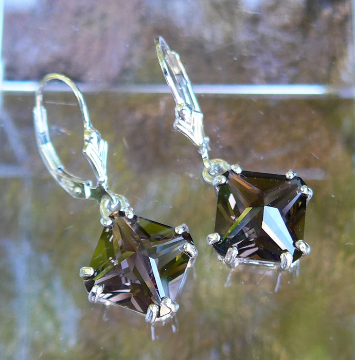 Smoky Quartz Magician Stone Hanging Earrings