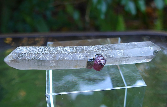 DT Quartz Wand with Red and Green Tourmaline