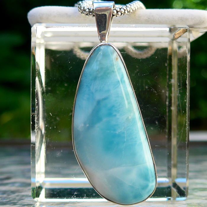 Beautiful Larimar Asymmetrical Teardrop Pendant with Fancy Chain