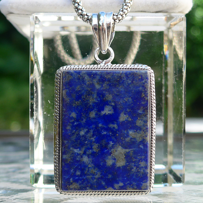 Lapis Protective Rectangular Shield Pendant
