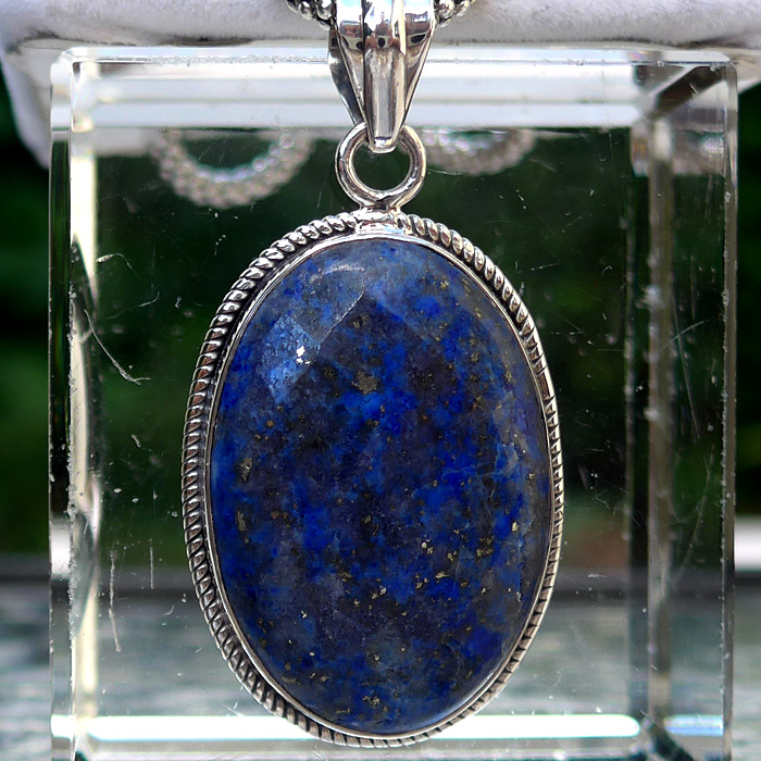 Lapis Lazuli Pineapple Cut Faceted Oval Pendant