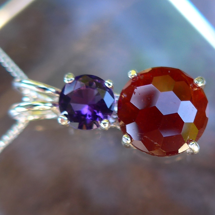 Hessonite Garnet Super Nova with Amethyst Crown