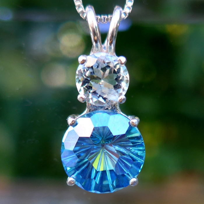 Petite Aqua Aura and Aquamarine Super Nova Pendant