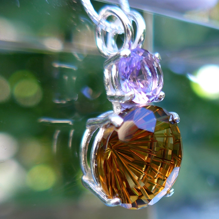 Citrine Super Nova Pendant with Amethyst Crown