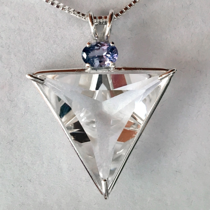 Clear Quartz Angelic Star with Violet Spinel
