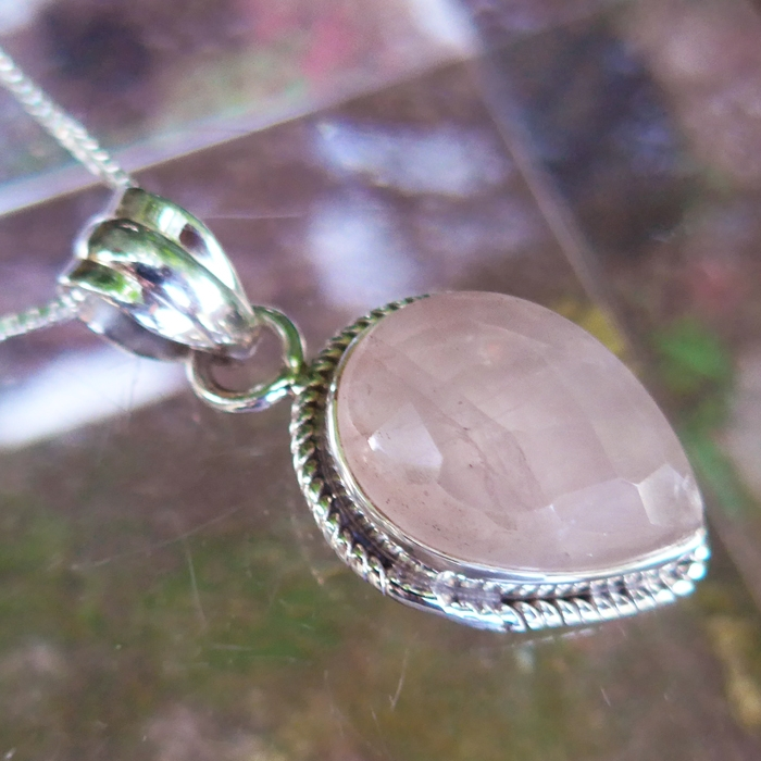 Faceted Rose Quartz Teardrop Pendant