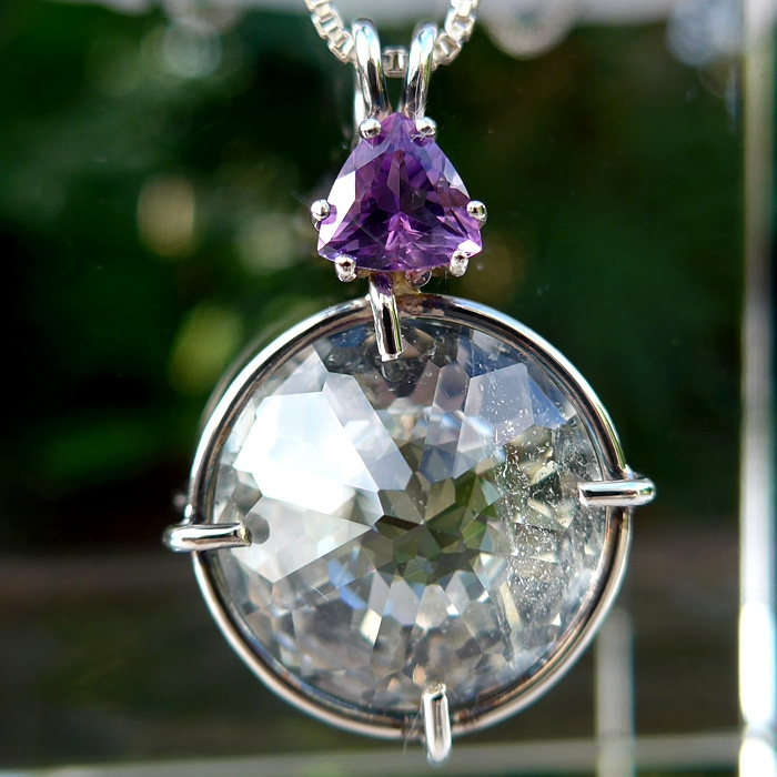 White Topaz Radiant Heart with Trillion Amethyst Crown