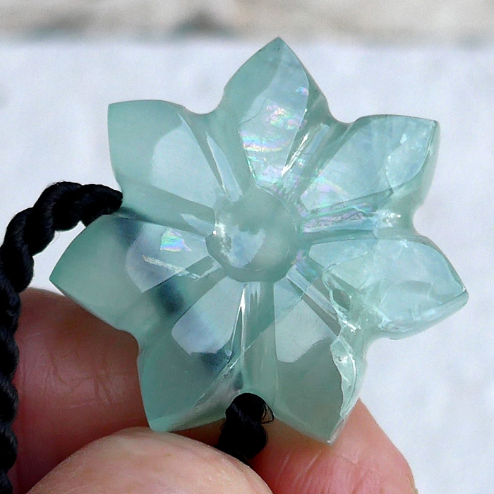 Rainbow Aquamarine Flower of Isis Pendant by Lawrence Stoller