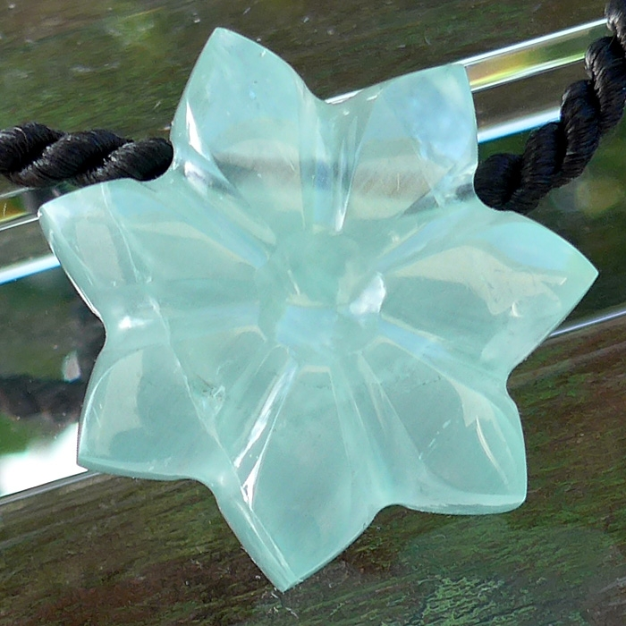Aquamarine Flower of Isis Pendant by Lawrence Stoller