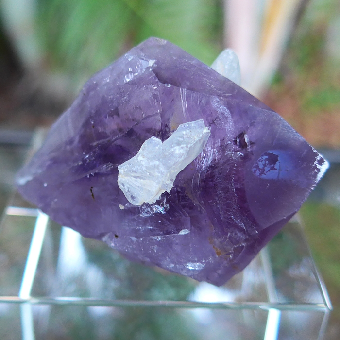 Violet Flame Amethyst and Calcite Point