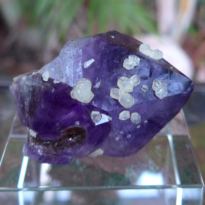Double Amethyst Scepter with Calcite Flowers