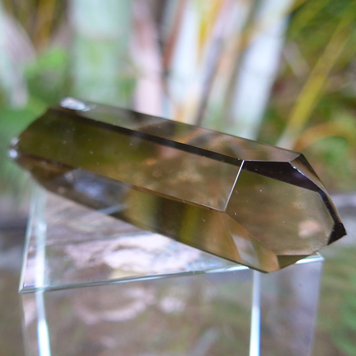 Water Clear Smoky Citrine Lemurian Double Channeler with Anatase